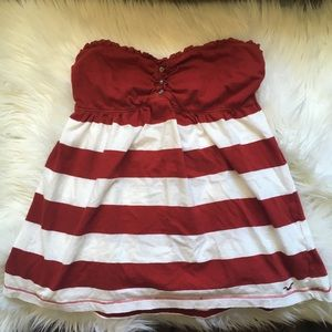 Hollister Rugby Stripe Strapless Top Large